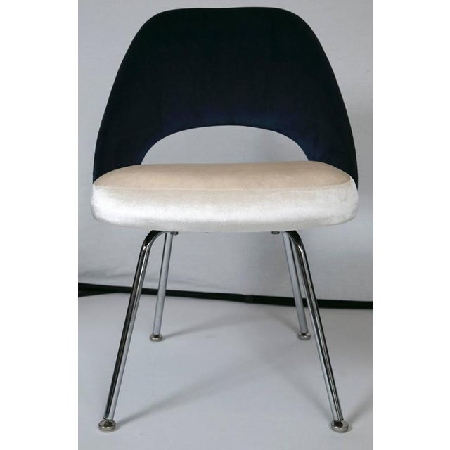 Saarinen Executive Armless Chairs in Ivory/Navy Velvet, Set of Six - Image 2 of 10