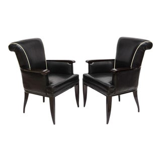 Pair of Late Art Deco Ebony De Macassar and Leather Armchairs, Jean Pascaud