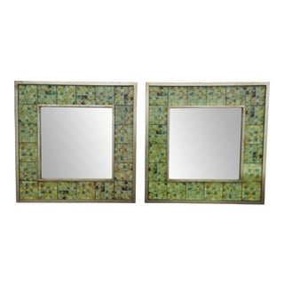 Silvered Frame Tile Mirrors - A Pair