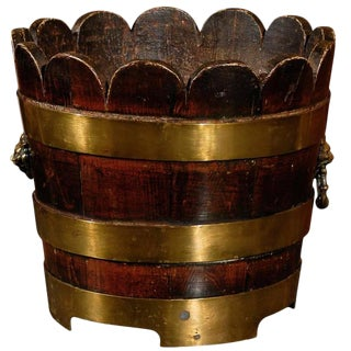 English Wooden Bucket with Brass Bands and Scalloped Top, circa 1900