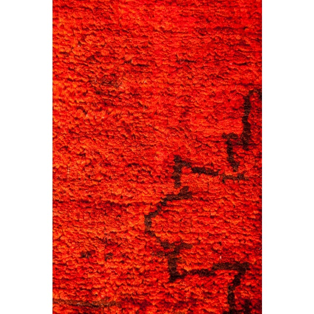 """Red Over-Dyed Hand Knotted Runner -- 3' X 7'10"""" - Image 3 of 3"""