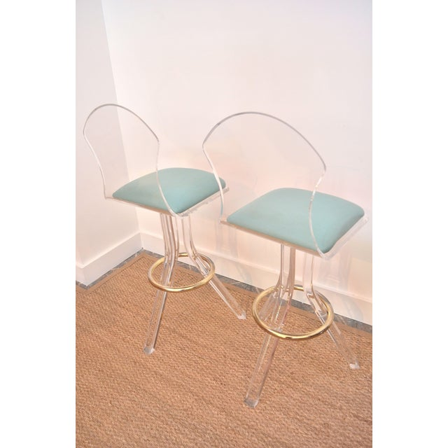 Image of Vintage Lucite Swivel Bar Stools - a Pair