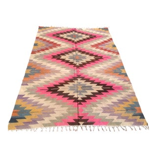 "Vintage Turkish Kilim Rug - 5'2"" X 7'7"""