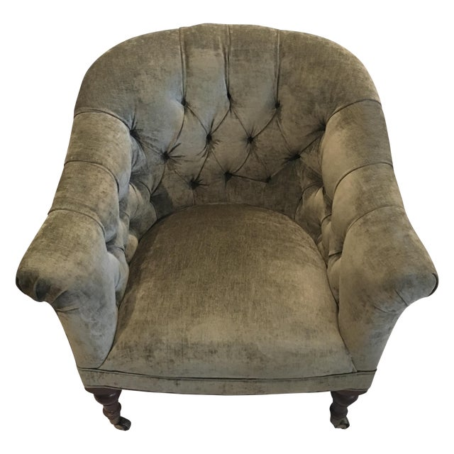 English Velvet Barrel Chair - Image 1 of 3