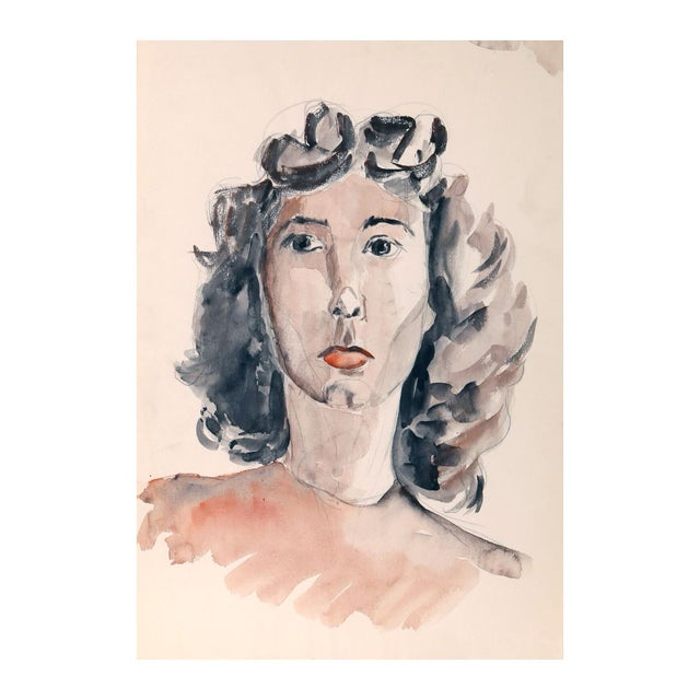"""Eve Nethercott """"Portrait of a Woman"""" Watercolor - Image 1 of 2"""