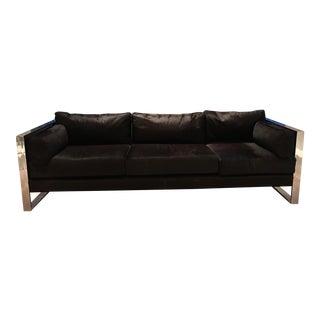 Milo Baughman Chrome Frame Black Cowhide Sofa