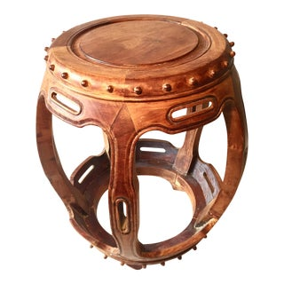 Asian Wooden Garden Stool or Side Table