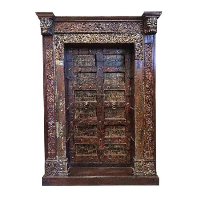 Antique Architectural Yellow/Orange Door Bookcase - Image 1 of 2