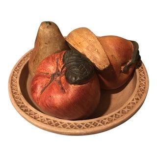 Vintage Mexican Folk Art Plaster Bowl of Fruit - Set of 5