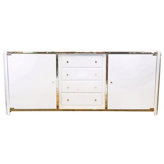 Lacquer and Brass Deco Style Octagonal Credenza