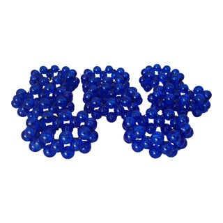 Retro Blue Acrylic Beaded Napkin Rings - Set of 8