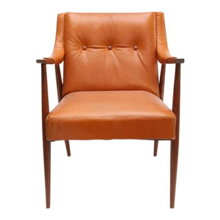 1950s Danish Teak and Leather Armchairs - A Pair