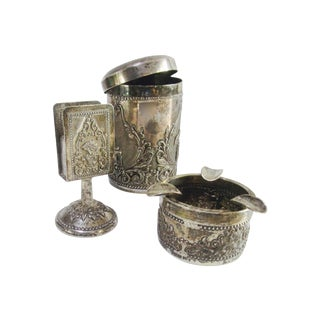 Silver Smoking Set Ashtray/Cigarette canister - 3