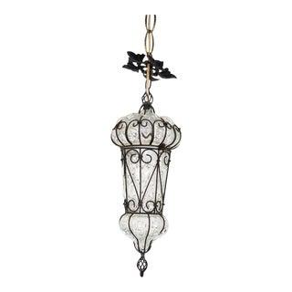 Mid-Century Murano Italian Caged Glass Pendant Light