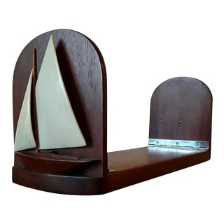 Mahogany & Bone Nautical Boat Bookends / Folding Shelf