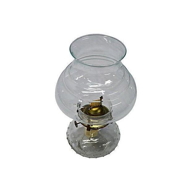 Vintage Clear Glass Oil Lamp - Image 3 of 4