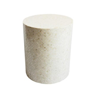 White Inlay Round Side Table