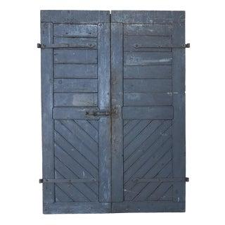 Vintage European Blue Farm Doors - A Pair