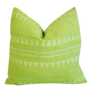 Lime Green Overdyed Mali Mud Cloth Feather/Down Pillow