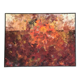 1960s Abstract Sun Oil Painting