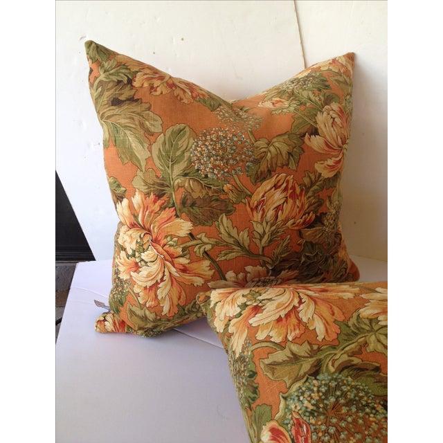 Newport Orange Floral Pillows - S/2 Chairish