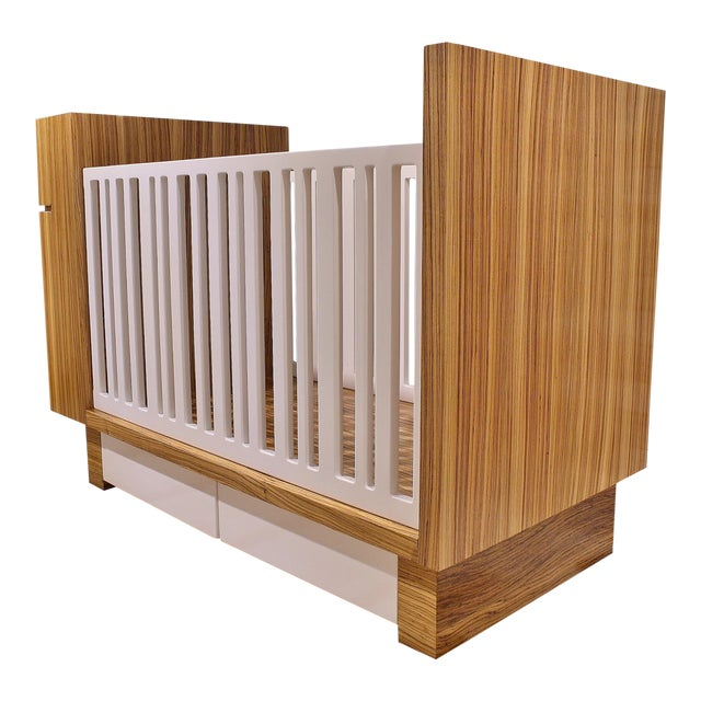 Modern Zebrawood Crib and Built-In Changing Table - Image 1 of 5