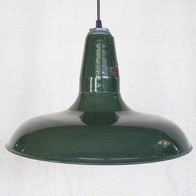 Vintage Industrial Green Enamel Barn Lamp Shade - Image 2 of 9