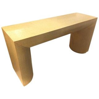 Sculptural Mid-Century Grasscloth Wrapped Console Table