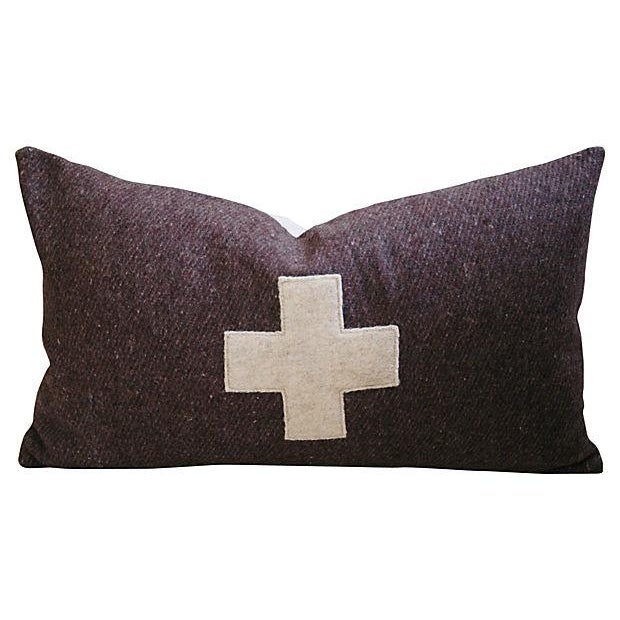 Swiss Wool Appliqué Cross Pillow - Image 4 of 4