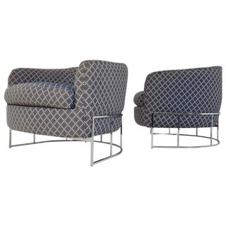 Unique Pair of Milo Baughman/Thayer Coggin Lounge Chairs with Chrome Frame