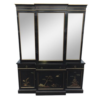 Vintage Karges Chinoiserie Asian Breakfront Cabinet