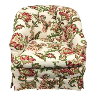 Custom Floral Tufted Occasional Chair