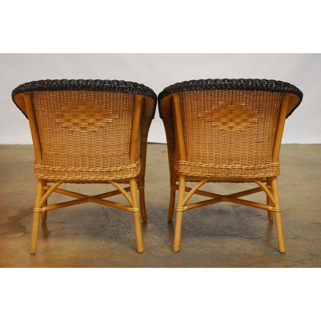 French Grange Style Rattan Club Chairs - A Pair - Image 3 of 7
