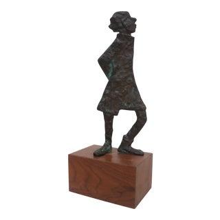 Brutalist Abstract Bronze Table Sculpture