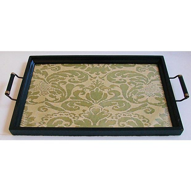1930s Cocktail Serving Tray W/ Fortuny Fabric - Image 7 of 8
