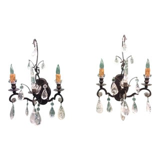 Rock Crystal Wall Sconces - A Pair