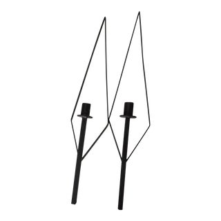 Wrought Iron Candle Sconces - a Pair