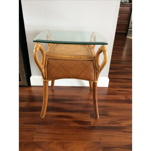 Vintage Bohemian Rattan Wicker Table - Image 4 of 8