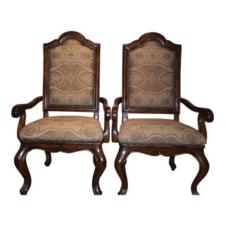 Leather Back Arm Chairs - A Pair