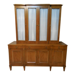 John Stuart Mid-Century Walnut 2pc China Crystal Cabinet