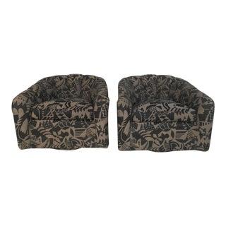 Vintage Modern Swivel Club Chairs - a Pair