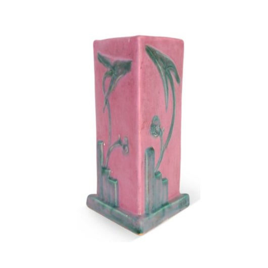 Pink & Teal Art Deco Triangular Vase - Image 1 of 3
