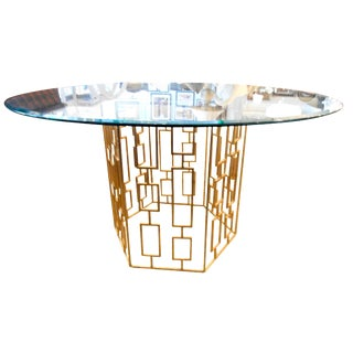 Round Glass Dining Table With Gold Lattice Base