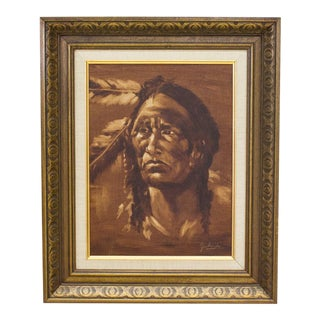 "Alyce Garland ""Indian Warrior"" Native American Portrait Oil Painting"