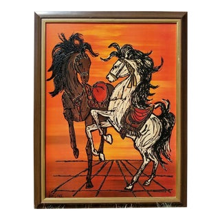 Original Turner Wall Accessory Lee Burr Carousel Horse Painting