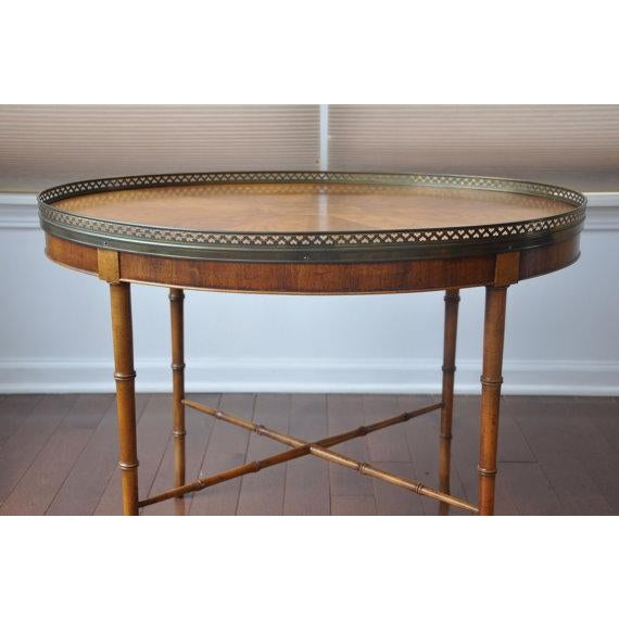 Image of Baker Furniture Side Table - Faux Bamboo Legs