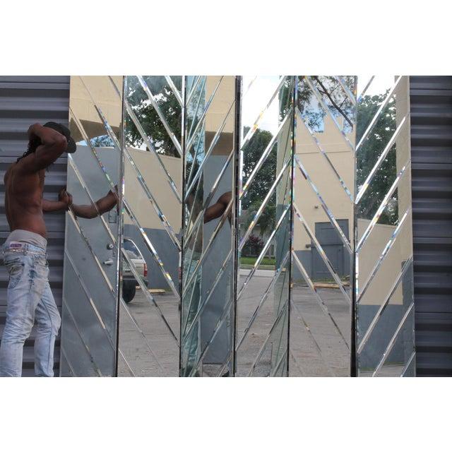 Mid-Century Modern Beveled Mirror Screen - Image 6 of 11