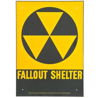 Vintage 1950s New Old Stock Fallout Shelter Sign