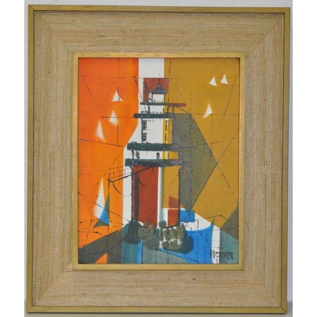Mid-Century Modern Abstract Lighthouse Painting - Image 2 of 5