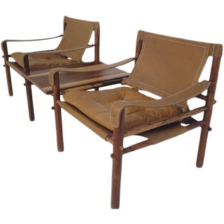 Arne Norell Rosewood Safari Lounge Chairs with Table